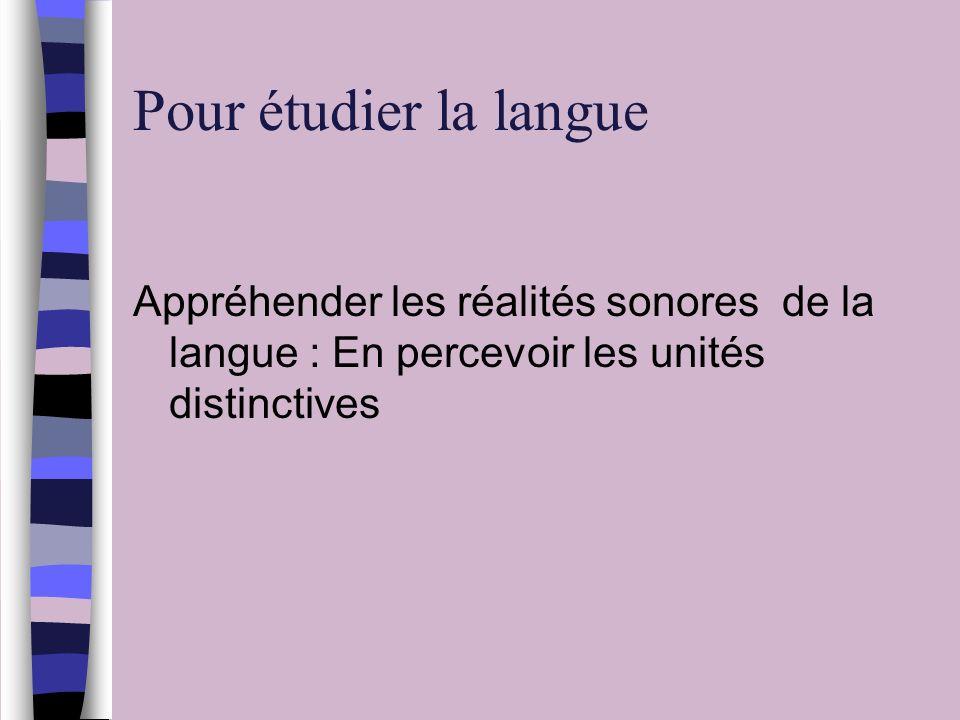 Pour étudier la langue Appréhender les réalités sonores de la langue : En percevoir les unités distinctives