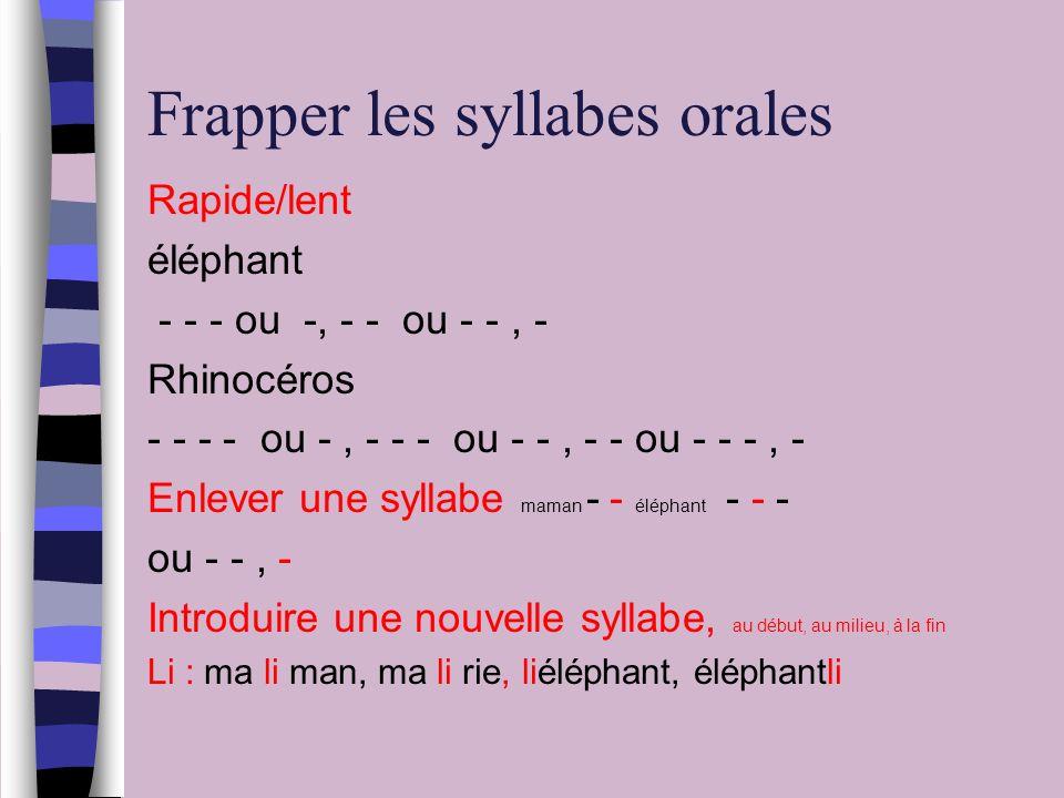 Frapper les syllabes orales Rapide/lent éléphant - - - ou -, - - ou - -, - Rhinocéros - - - - ou -, - - - ou - -, - - ou - - -, - Enlever une syllabe