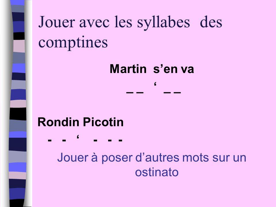 Jouer avec les syllabes des comptines Martin sen va _ _ _ _ Rondin Picotin - - - - - Jouer à poser dautres mots sur un ostinato