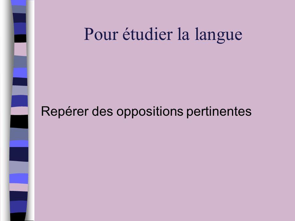 Pour étudier la langue Repérer des oppositions pertinentes