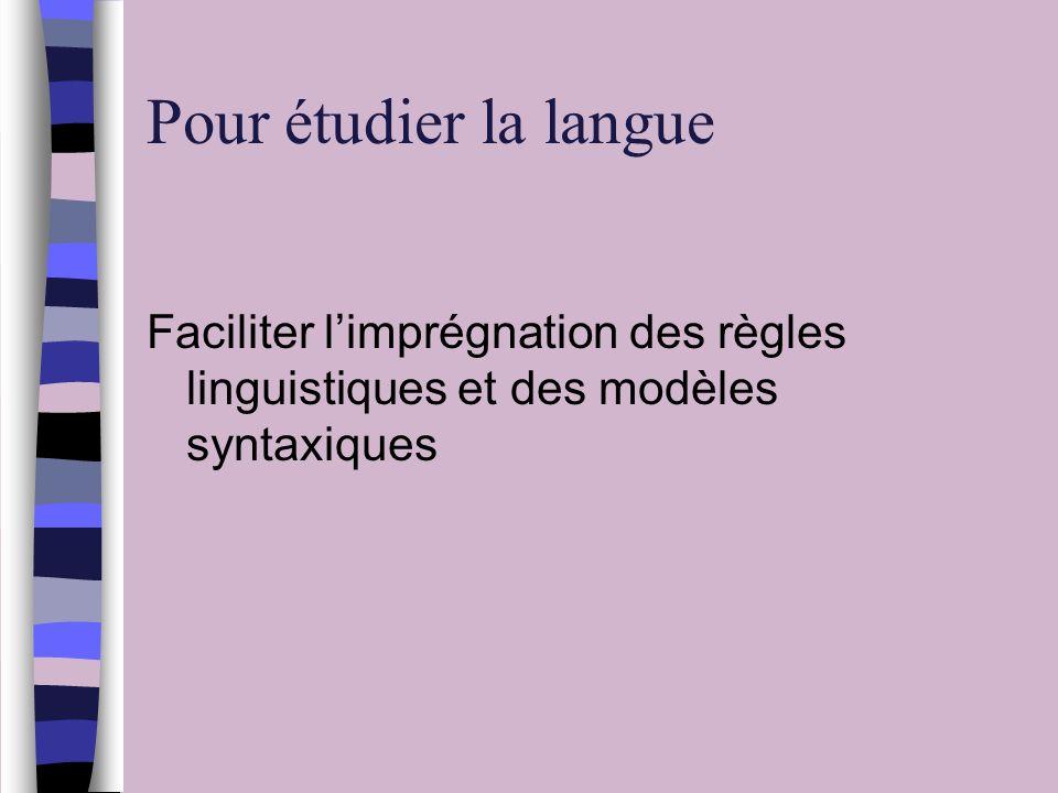 Pour étudier la langue Faciliter limprégnation des règles linguistiques et des modèles syntaxiques