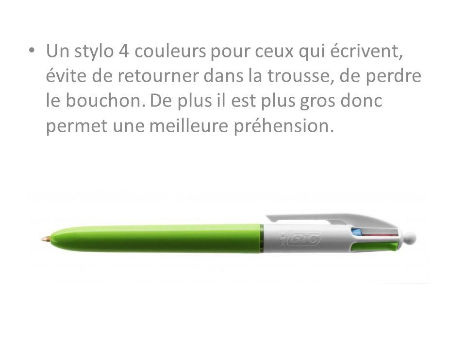Un stylo 4 couleurs pour ceux qui écrivent, évite de retourner dans la trousse, de perdre le bouchon. De plus il est plus gros donc permet une meilleu