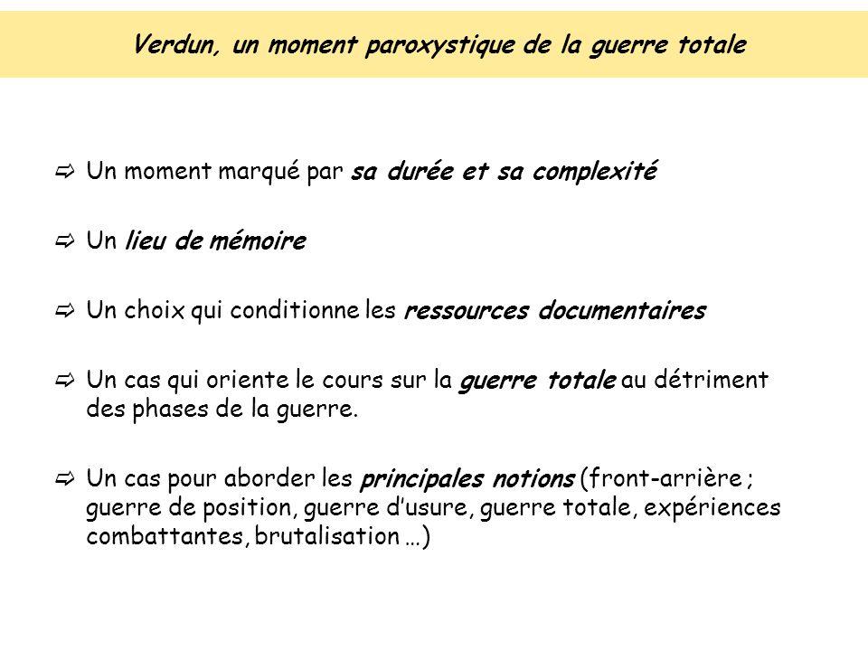 Verdun, un moment paroxystique de la guerre totale Un moment marqué par sa durée et sa complexité Un lieu de mémoire Un choix qui conditionne les ress