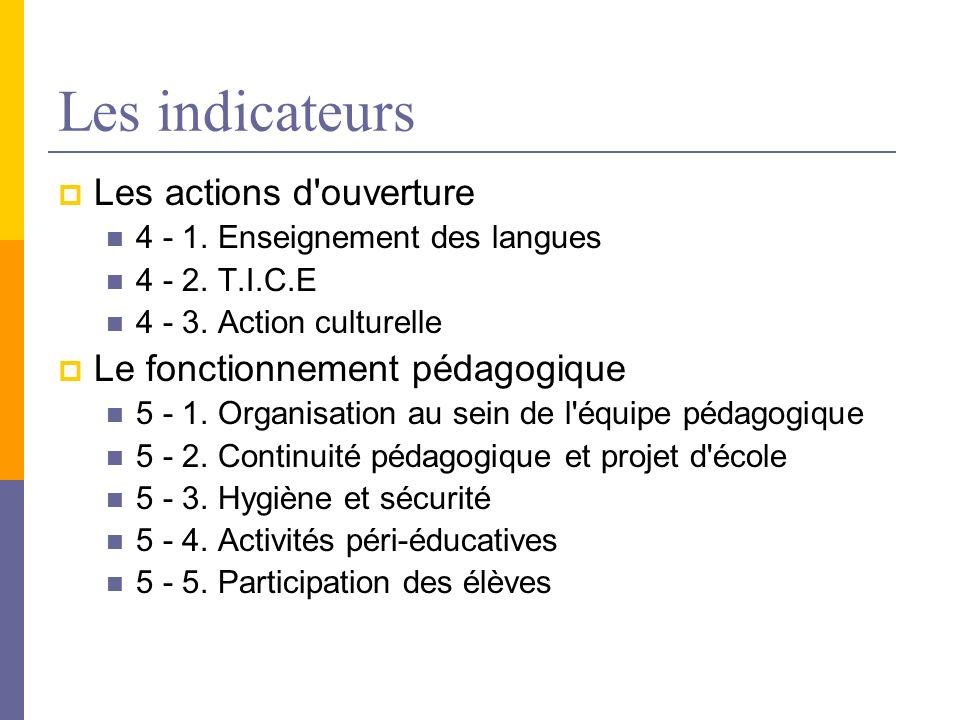 Les indicateurs Les actions d'ouverture 4 - 1. Enseignement des langues 4 - 2. T.I.C.E 4 - 3. Action culturelle Le fonctionnement pédagogique 5 - 1. O