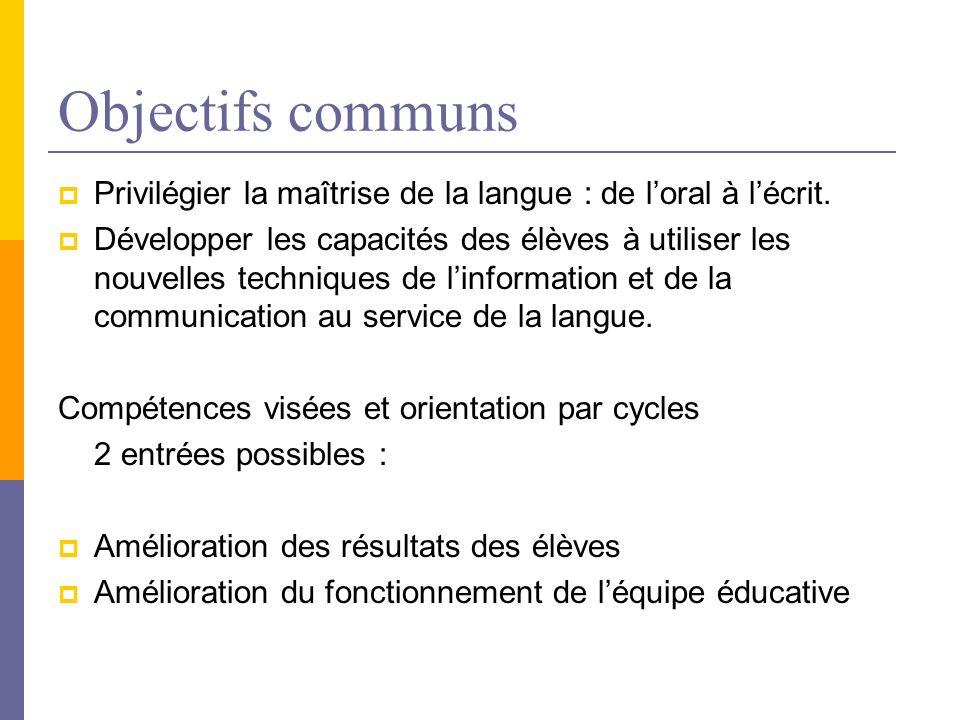 Objectifs communs Privilégier la maîtrise de la langue : de loral à lécrit. Développer les capacités des élèves à utiliser les nouvelles techniques de