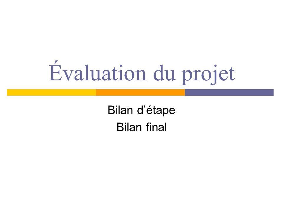 Évaluation du projet Bilan détape Bilan final