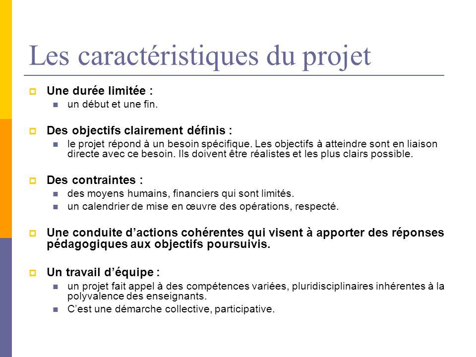 Les caractéristiques du projet Une durée limitée : un début et une fin. Des objectifs clairement définis : le projet répond à un besoin spécifique. Le