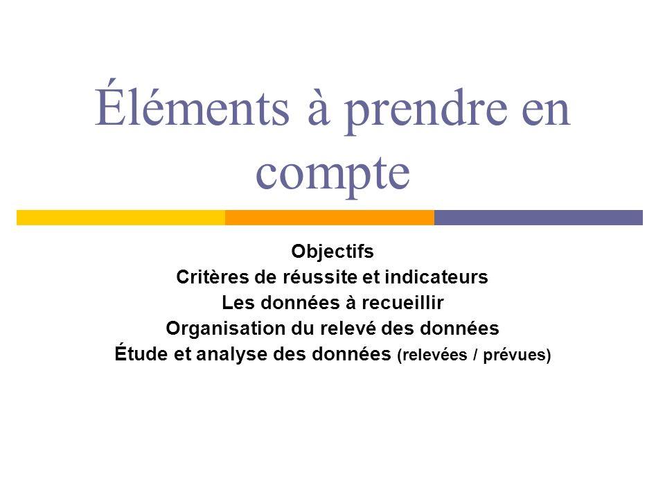 Éléments à prendre en compte Objectifs Critères de réussite et indicateurs Les données à recueillir Organisation du relevé des données Étude et analys