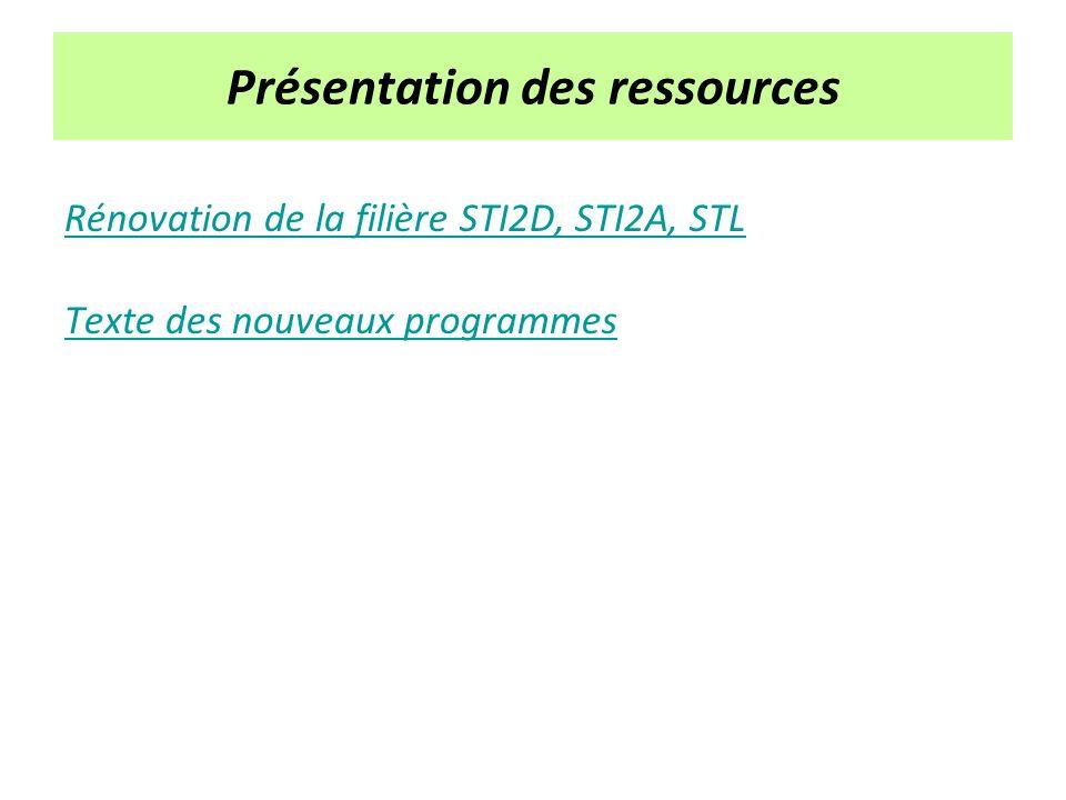 Présentation des ressources Rénovation de la filière STI2D, STI2A, STL Texte des nouveaux programmes