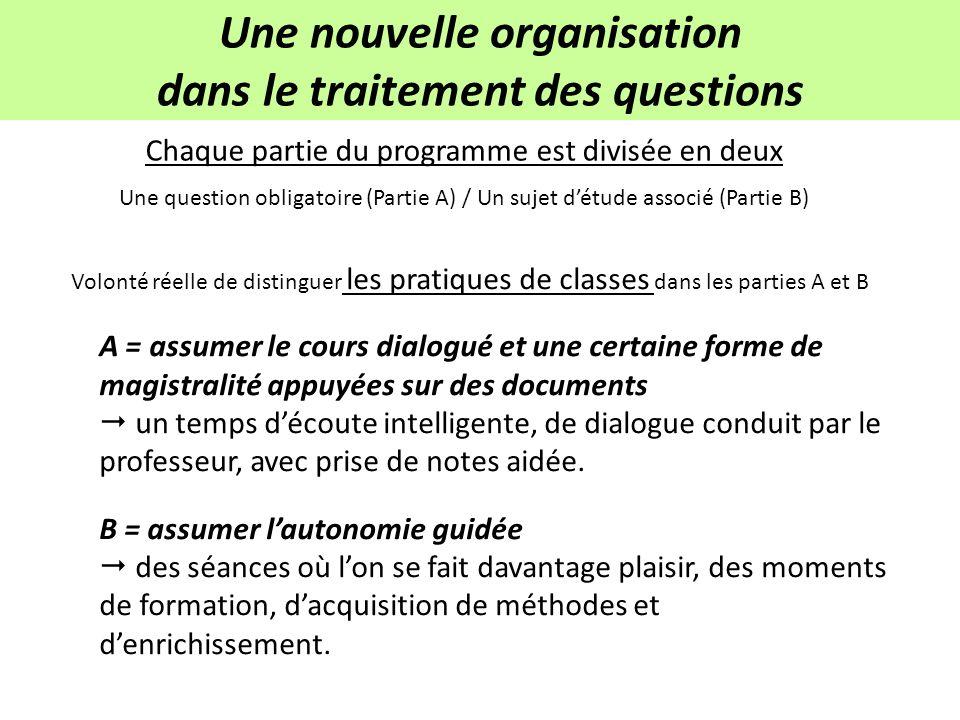 3 niveaux de liberté dans la réalisation du programme Ordre des questions du programme Choix des sujets détudes Articulation question obligatoire / sujet détude.