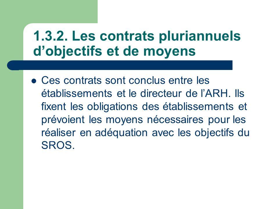 1.3.2. Les contrats pluriannuels dobjectifs et de moyens Ces contrats sont conclus entre les établissements et le directeur de lARH. Ils fixent les ob