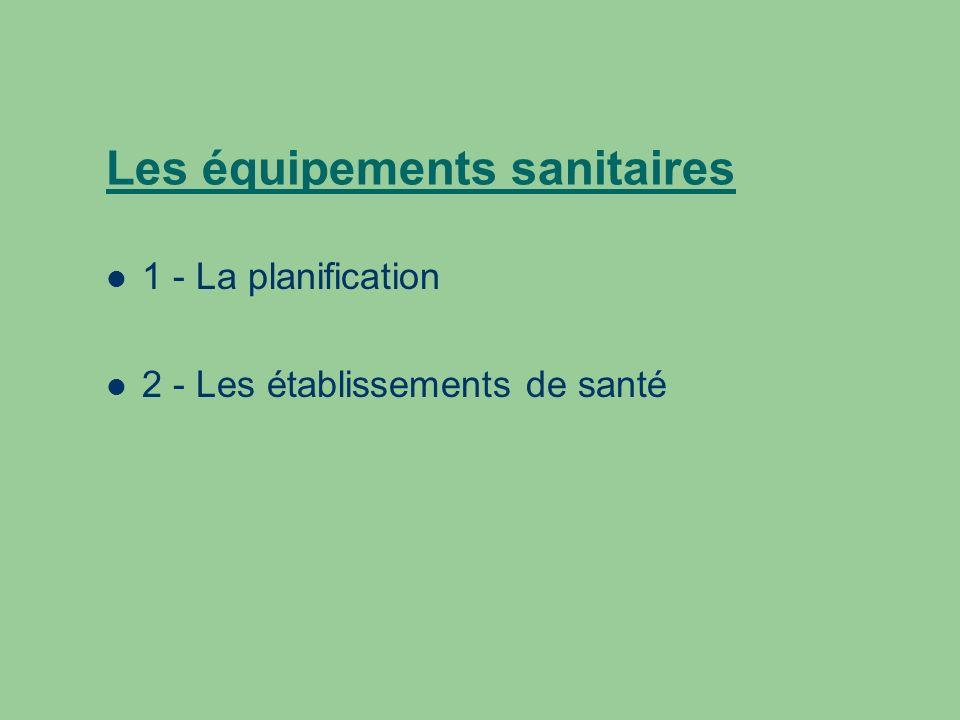 Les équipements sanitaires 1 - La planification 2 - Les établissements de santé