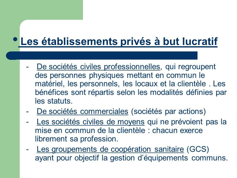 - De sociétés civiles professionnelles, qui regroupent des personnes physiques mettant en commun le matériel, les personnels, les locaux et la clientè