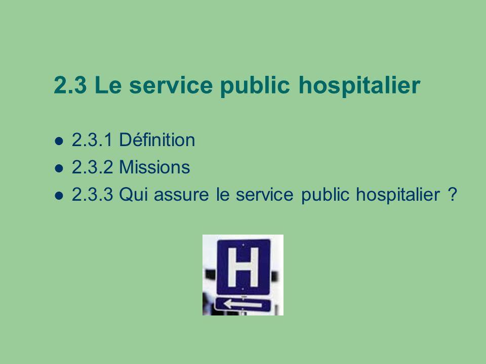 2.3 Le service public hospitalier 2.3.1 Définition 2.3.2 Missions 2.3.3 Qui assure le service public hospitalier ?