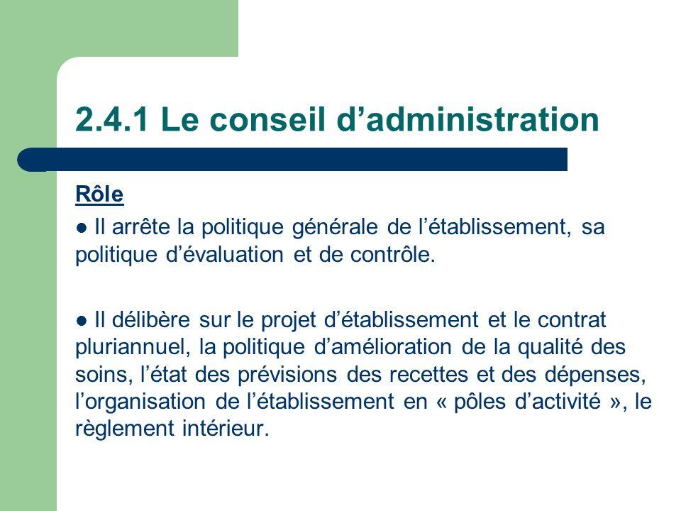 2.4.1 Le conseil dadministration Rôle Il arrête la politique générale de létablissement, sa politique dévaluation et de contrôle. Il délibère sur le p