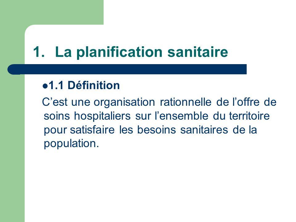1.La planification sanitaire 1.1 Définition Cest une organisation rationnelle de loffre de soins hospitaliers sur lensemble du territoire pour satisfa