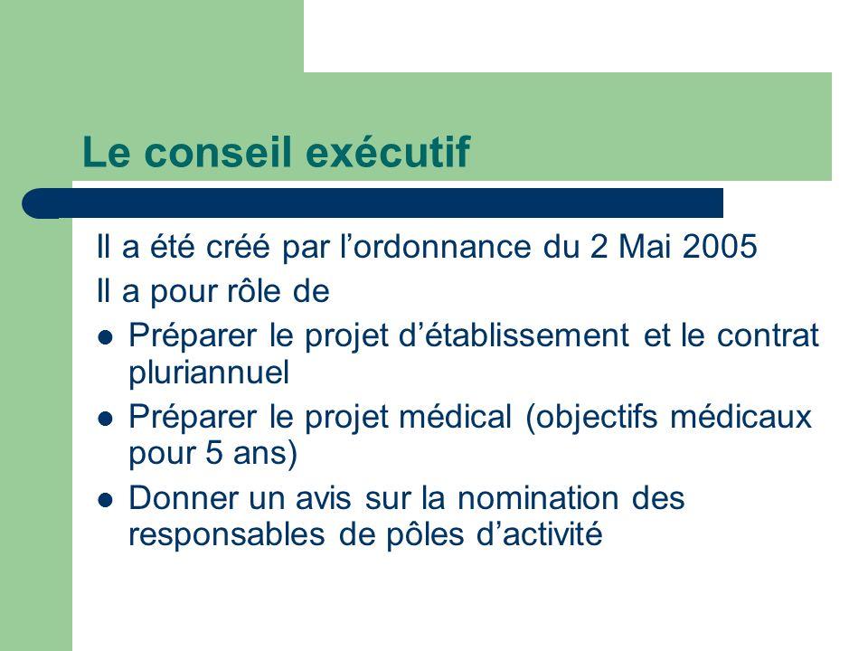 Le conseil exécutif Il a été créé par lordonnance du 2 Mai 2005 Il a pour rôle de Préparer le projet détablissement et le contrat pluriannuel Préparer