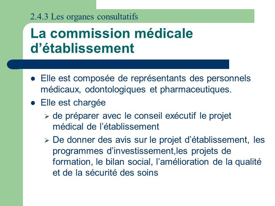 La commission médicale détablissement Elle est composée de représentants des personnels médicaux, odontologiques et pharmaceutiques. Elle est chargée