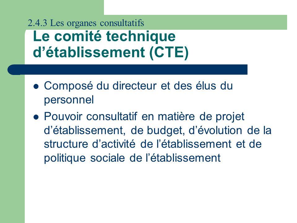 Le comité technique détablissement (CTE) Composé du directeur et des élus du personnel Pouvoir consultatif en matière de projet détablissement, de bud