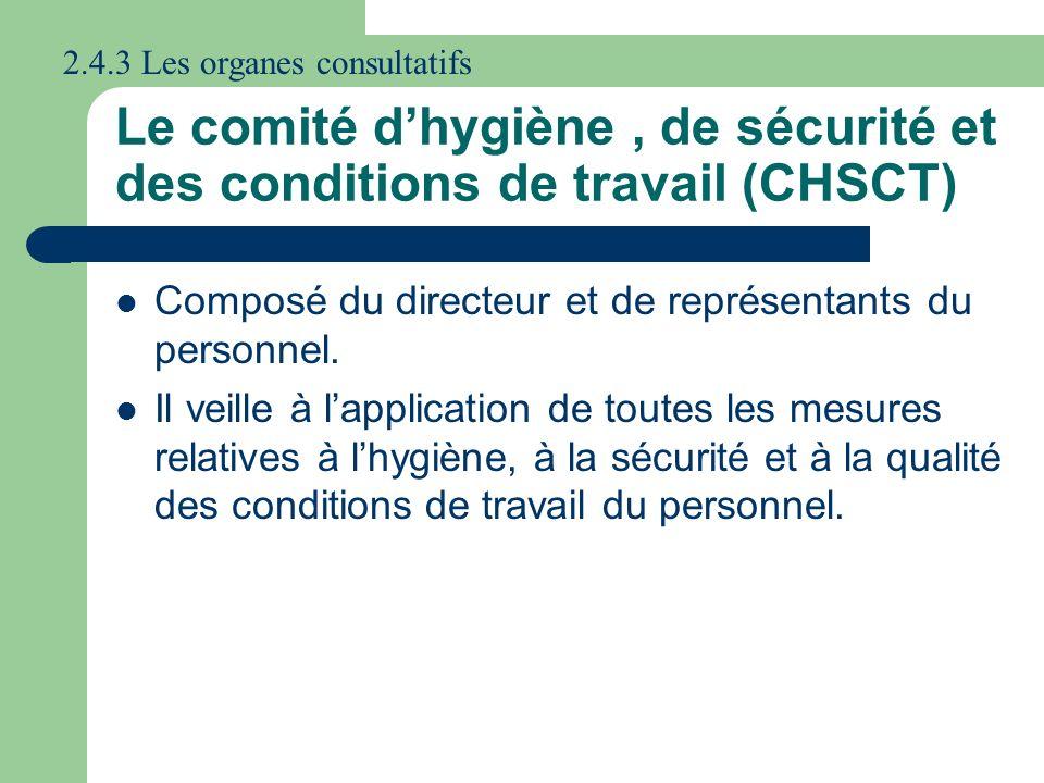 Le comité dhygiène, de sécurité et des conditions de travail (CHSCT) Composé du directeur et de représentants du personnel. Il veille à lapplication d