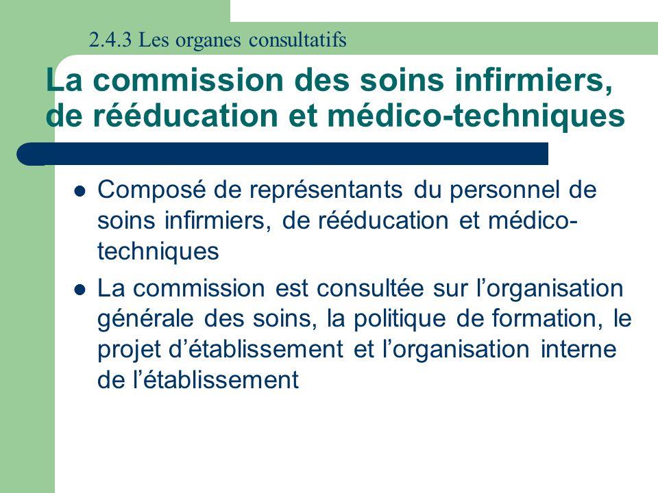 La commission des soins infirmiers, de rééducation et médico-techniques Composé de représentants du personnel de soins infirmiers, de rééducation et m