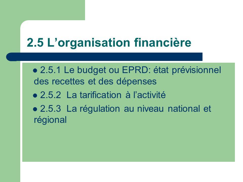 2.5 Lorganisation financière 2.5.1 Le budget ou EPRD: état prévisionnel des recettes et des dépenses 2.5.2 La tarification à lactivité 2.5.3 La régula