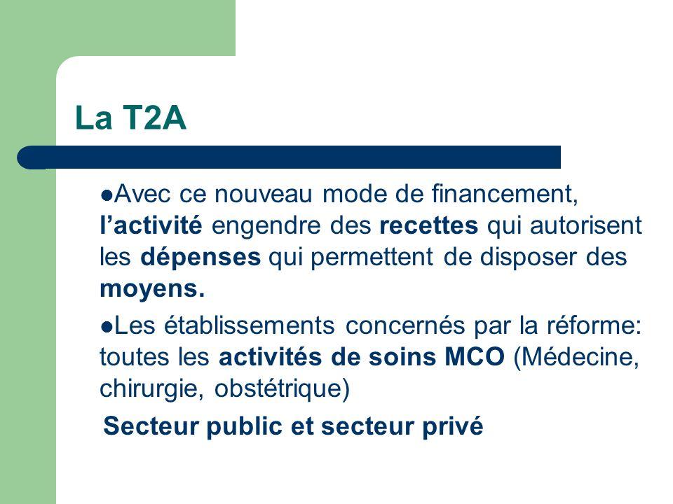La T2A Avec ce nouveau mode de financement, lactivité engendre des recettes qui autorisent les dépenses qui permettent de disposer des moyens. Les éta