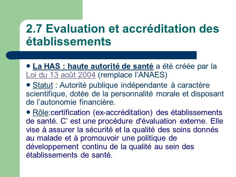 2.7 Evaluation et accréditation des établissements La HAS : haute autorité de santé a été créée par la Loi du 13 août 2004 (remplace lANAES) Loi du 13