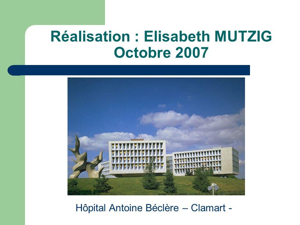 Réalisation : Elisabeth MUTZIG Octobre 2007 Hôpital Antoine Béclère – Clamart -