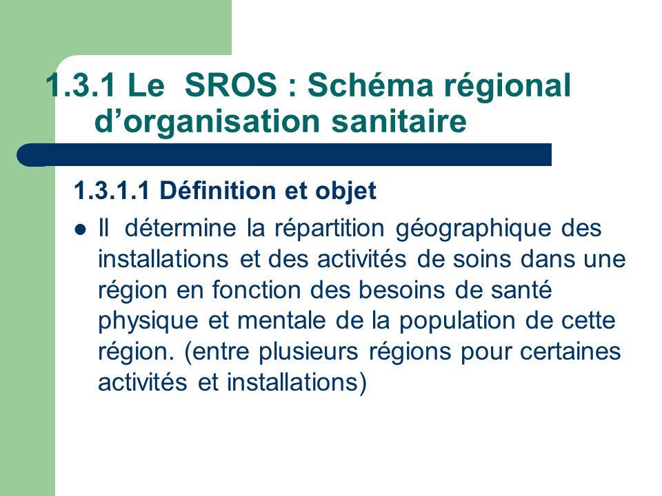 1.3.1 Le SROS : Schéma régional dorganisation sanitaire 1.3.1.1 Définition et objet Il détermine la répartition géographique des installations et des