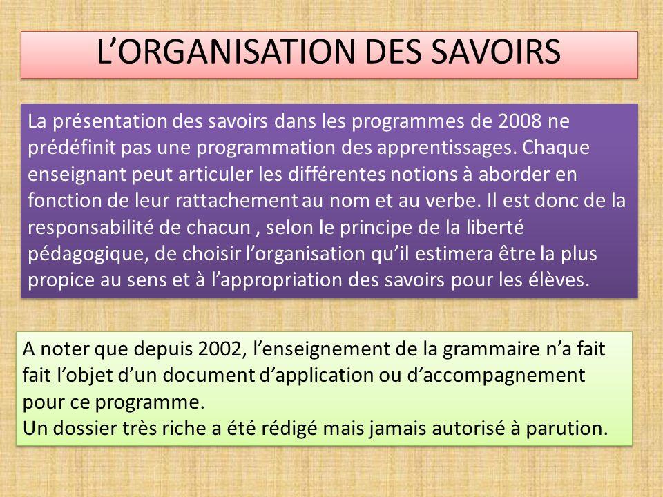 LORGANISATION DES SAVOIRS La présentation des savoirs dans les programmes de 2008 ne prédéfinit pas une programmation des apprentissages. Chaque ensei