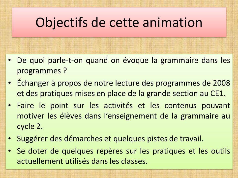 Objectifs de cette animation De quoi parle-t-on quand on évoque la grammaire dans les programmes ? Échanger à propos de notre lecture des programmes d