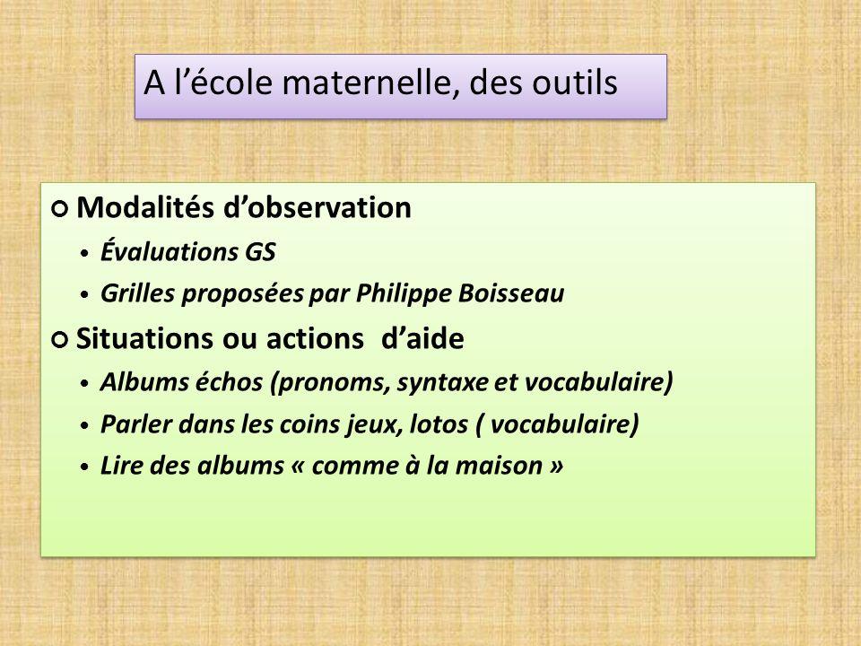 Modalités dobservation Évaluations GS Grilles proposées par Philippe Boisseau Situations ou actions daide Albums échos (pronoms, syntaxe et vocabulair