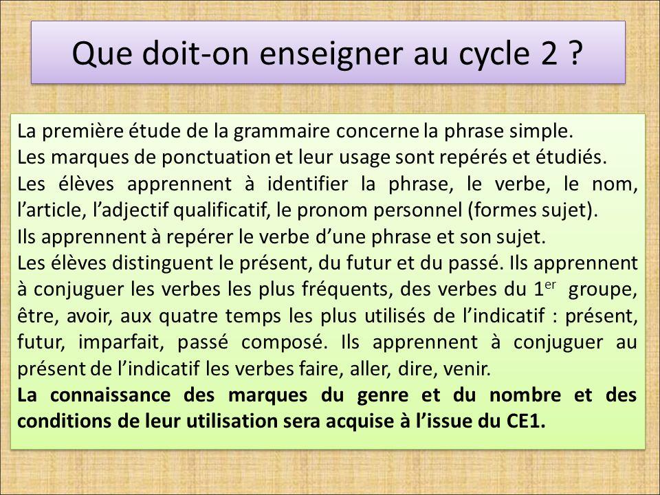Que doit-on enseigner au cycle 2 ? La première étude de la grammaire concerne la phrase simple. Les marques de ponctuation et leur usage sont repérés