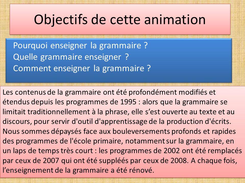 Objectifs de cette animation Pourquoi enseigner la grammaire ? Quelle grammaire enseigner ? Comment enseigner la grammaire ? Pourquoi enseigner la gra