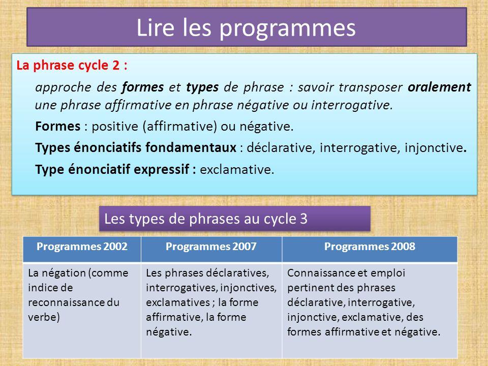 Lire les programmes La phrase cycle 2 : approche des formes et types de phrase : savoir transposer oralement une phrase affirmative en phrase négative