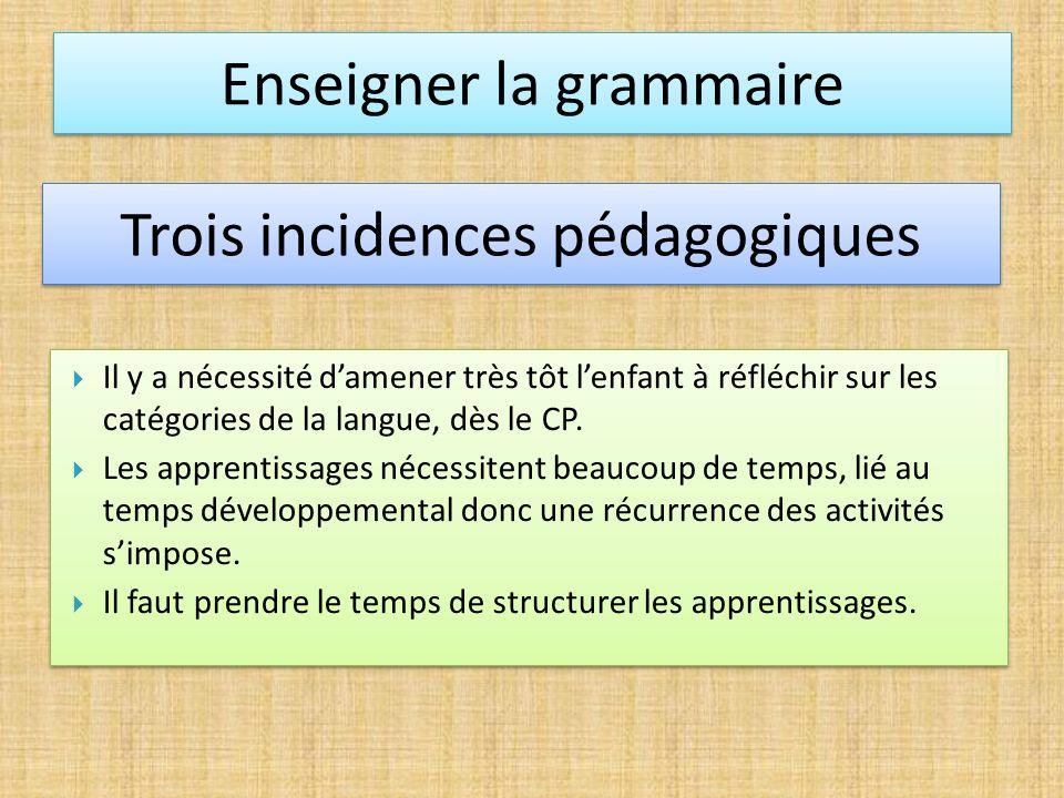 Il y a nécessité damener très tôt lenfant à réfléchir sur les catégories de la langue, dès le CP. Les apprentissages nécessitent beaucoup de temps, li