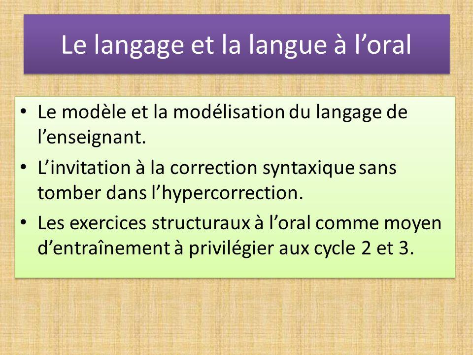 Le langage et la langue à loral Le modèle et la modélisation du langage de lenseignant. Linvitation à la correction syntaxique sans tomber dans lhyper