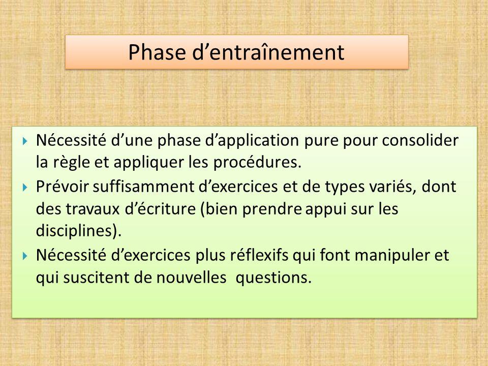 Nécessité dune phase dapplication pure pour consolider la règle et appliquer les procédures. Prévoir suffisamment dexercices et de types variés, dont