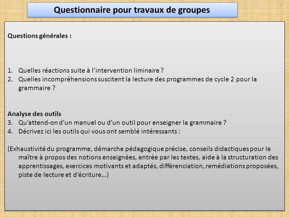 Questions générales : 1.Quelles réactions suite à lintervention liminaire ? 2.Quelles incompréhensions suscitent la lecture des programmes de cycle 2