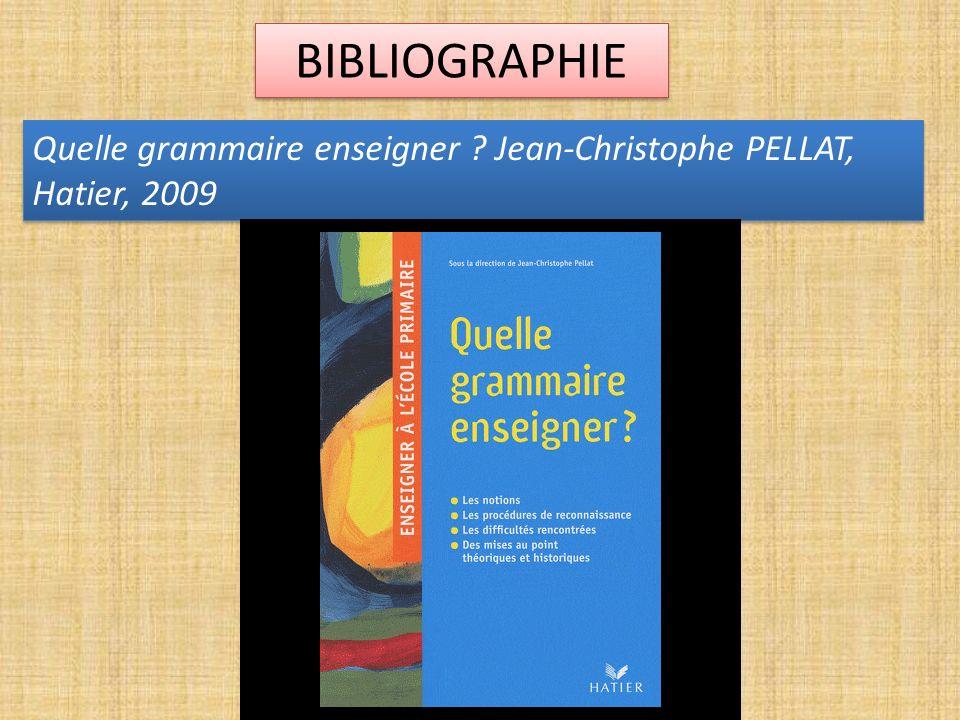 BIBLIOGRAPHIE Quelle grammaire enseigner ? Jean-Christophe PELLAT, Hatier, 2009