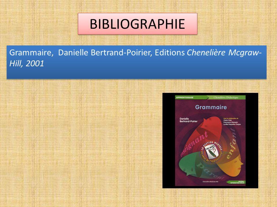 BIBLIOGRAPHIE Grammaire, Danielle Bertrand-Poirier, Editions Chenelière Mcgraw- Hill, 2001