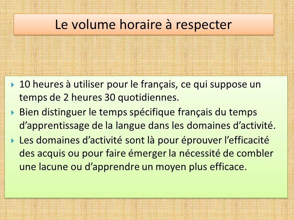 10 heures à utiliser pour le français, ce qui suppose un temps de 2 heures 30 quotidiennes. Bien distinguer le temps spécifique français du temps dapp
