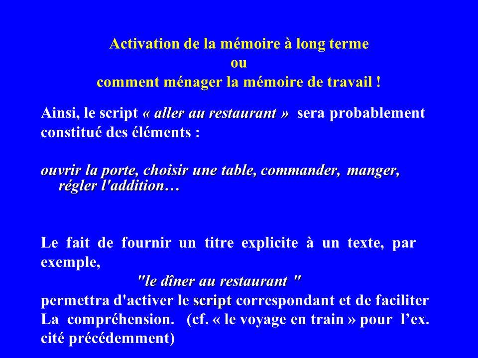 Activation de la mémoire à long terme ou comment ménager la mémoire de travail ! « aller au restaurant » Ainsi, le script « aller au restaurant » sera