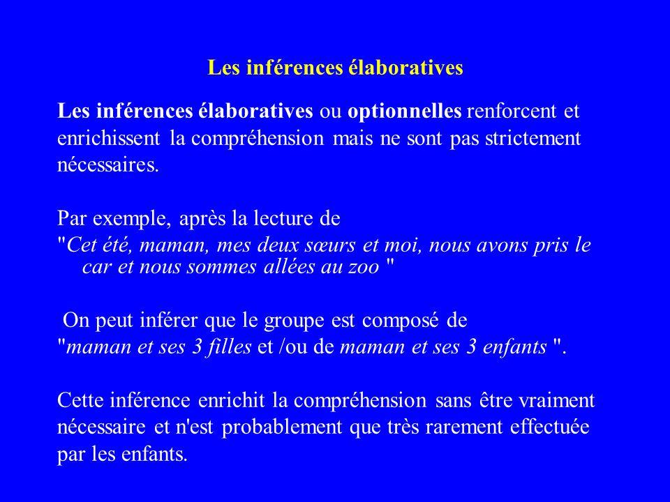 Les inférences élaboratives Les inférences élaboratives ou optionnelles renforcent et enrichissent la compréhension mais ne sont pas strictement néces