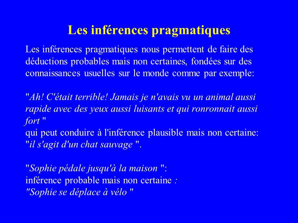 Les inférences pragmatiques Les inférences pragmatiques nous permettent de faire des déductions probables mais non certaines, fondées sur des connaiss