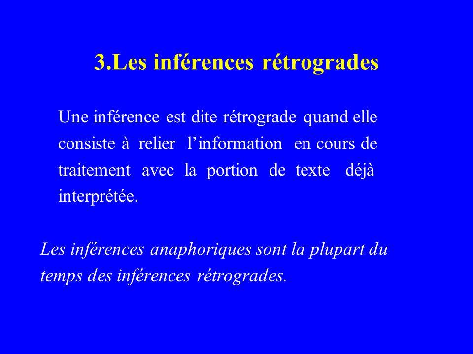 3.Les inférences rétrogrades Une inférence est dite rétrograde quand elle consiste à relier linformation en cours de traitement avec la portion de tex