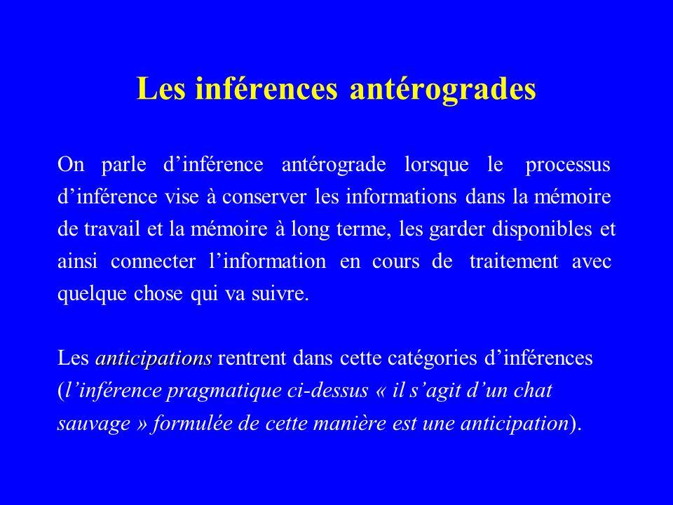Les inférences antérogrades On parle dinférence antérograde lorsque le processus dinférence vise à conserver les informations dans la mémoire de trava