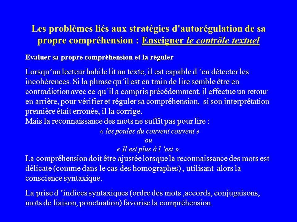 Les problèmes liés aux stratégies d'autorégulation de sa propre compréhension : Enseigner le contrôle textuel Evaluer sa propre compréhension et la ré