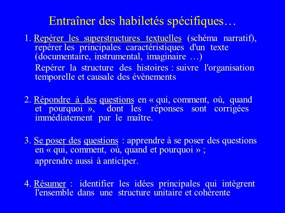 Entraîner des habiletés spécifiques… Repérer les superstructures textuelles 1. Repérer les superstructures textuelles (schéma narratif), repérer les p